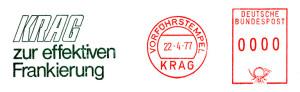 Bild 1: Frankiermaschine KRAG mit Werbeklischee in grüner Farbe